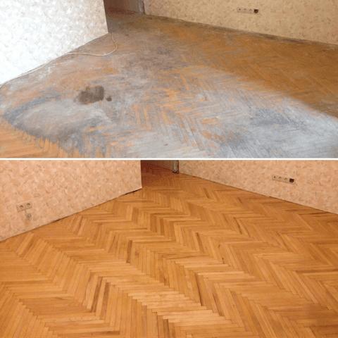 ремонт деревянного пола в сталинке