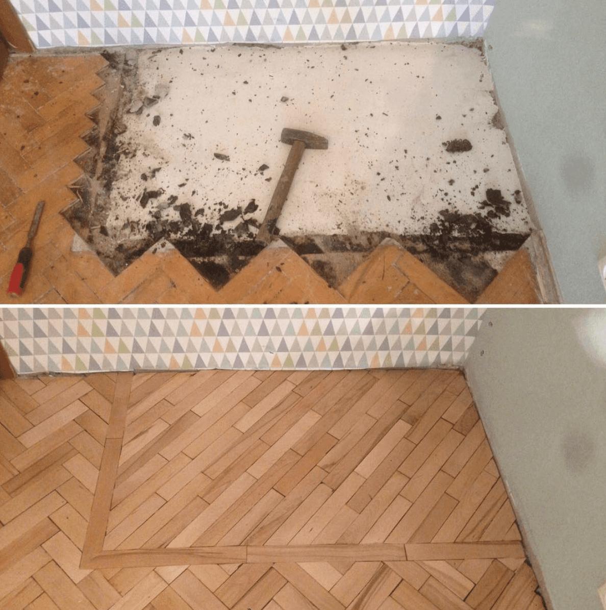 До и после ремонта пола